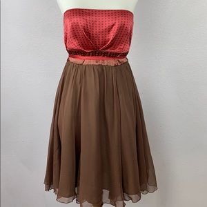 Bebe Coral and brown strapless silk Formal dress
